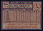 1984 Topps #785  Joaquin Andujar  Back Thumbnail