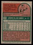 1975 Topps Mini #155  Jim Bibby  Back Thumbnail