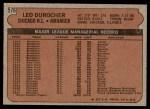 1972 Topps #576  Leo Durocher  Back Thumbnail