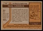 1973 Topps #122  Real Lemieux   Back Thumbnail