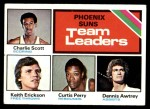 1975 Topps #130   -  Charlie Scott / Keith Erickson / Curtis Perry / Dennis Awtrey Suns Team Leaders Front Thumbnail