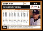 2002 Topps #75  Derek Jeter  Back Thumbnail