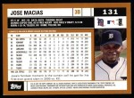 2002 Topps #131  Jose Macias  Back Thumbnail