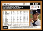 2002 Topps #132  Ted Lilly  Back Thumbnail