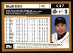 2002 Topps #137  David Segui  Back Thumbnail