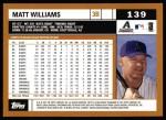 2002 Topps #139  Matt Williams  Back Thumbnail