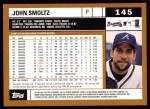 2002 Topps #145  John Smoltz  Back Thumbnail