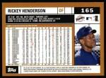 2002 Topps #165  Rickey Henderson  Back Thumbnail