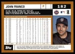 2002 Topps #182  John Franco  Back Thumbnail