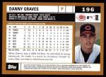 2002 Topps #196  Danny Graves  Back Thumbnail