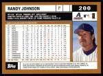 2002 Topps #200  Randy Johnson  Back Thumbnail