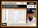 2002 Topps #220  Chuck Knoblauch  Back Thumbnail