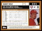 2002 Topps #221  Randy Wolf  Back Thumbnail