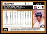 2002 Topps #237  Joe Girardi  Back Thumbnail