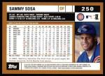 2002 Topps #250  Sammy Sosa  Back Thumbnail