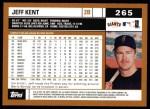 2002 Topps #265  Jeff Kent  Back Thumbnail