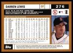 2002 Topps #276  Darren Lewis  Back Thumbnail