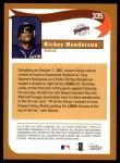 2002 Topps #335   -  Rickey Henderson  Highlights Back Thumbnail