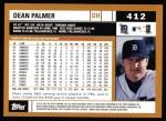 2002 Topps #412  Dean Palmer  Back Thumbnail