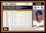 2002 Topps #435  Jose Canseco  Back Thumbnail