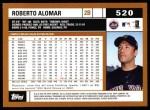 2002 Topps #520  Roberto Alomar  Back Thumbnail