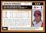 2002 Topps #534  Osvaldo Fernandez  Back Thumbnail