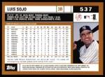 2002 Topps #537  Luis Sojo  Back Thumbnail