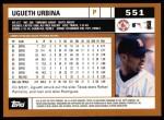 2002 Topps #551  Ugueth Urbina  Back Thumbnail
