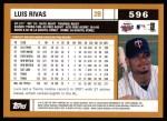2002 Topps #596  Luis Rivas  Back Thumbnail