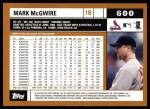 2002 Topps #600  Mark McGwire  Back Thumbnail