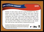2002 Topps #649   Cleveland Indians Back Thumbnail