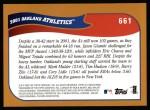 2002 Topps #661   Oakland Athletics ( A's ) Back Thumbnail