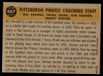 1960 Topps #467   -  Bill Burwell / Frank Oceak / Sam Narron / Mickey Vernon Pirates Coaches Back Thumbnail