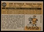 1960 Topps #325  Jim O'Toole  Back Thumbnail