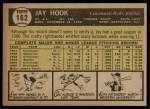 1961 Topps #162  Jay Hook  Back Thumbnail