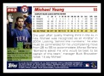 2005 Topps #263  Michael Young  Back Thumbnail