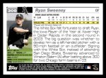 2005 Topps #308  Ryan Sweeney  Back Thumbnail