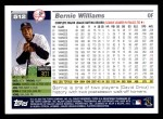 2005 Topps #512  Bernie Williams  Back Thumbnail