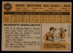 1960 Topps #297  Reno Bertoia  Back Thumbnail