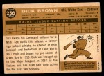 1960 Topps #256  Dick Brown  Back Thumbnail