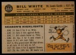 1960 Topps #355  Bill White  Back Thumbnail