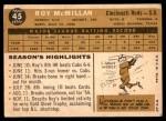 1960 Topps #45  Roy McMillan  Back Thumbnail
