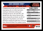 2005 Topps #643   Chicago Cubs Team Back Thumbnail