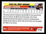 2005 Topps #716   -  Barry Bonds Most Valuable Player Back Thumbnail