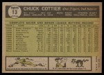 1961 Topps #13  Chuck Cottier  Back Thumbnail