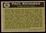1961 Topps #566   -  Paul Richards All-Star Back Thumbnail