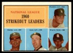 1961 Topps #49   -  Don Drysdale / Sandy Koufax / Ernie Broglio / Sam Jones NL Strikeout Leaders Front Thumbnail