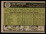 1961 Topps #552  Jim Archer  Back Thumbnail