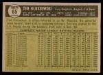 1961 Topps #65  Ted Kluszewski  Back Thumbnail
