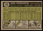 1961 Topps #558  Don Ferrarese  Back Thumbnail